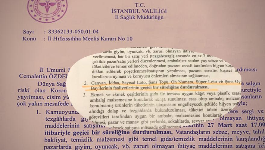 İstanbul Valiliğinden Ganyan ve İddia Bayileri kararı!