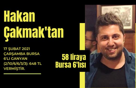 Hakan Çakmak'tan 58 liraya Bursa Altılısı…